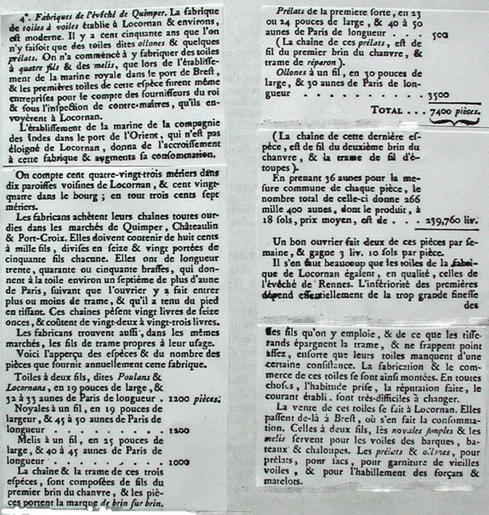 Un article de l'Encyclopédie Méthodique est consacré à la manufacture de Locronan en ces années 1780, mais avec des données non actualisées